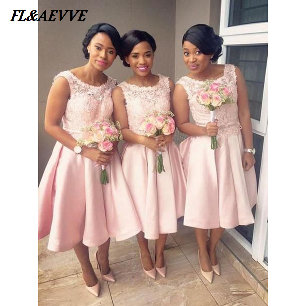 In Stock Short Bridesmaid Dresses Lace Top Pretty Pink Bridesmaid Dress  Sleeveless Split for Wedding Party Teens