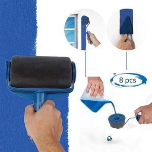 Image 2 - 8pcs Paint Runner Roller Brush Handle Tool Flocked Edger Office Room Wall Painting Home Tool Roller Paint Brush Set Dropship