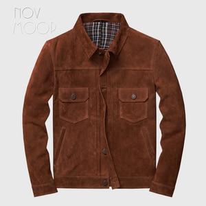 Image 1 - Novmoop veste en peau de vache, manteau dhiver pour homme, couleur marron, jaune brunâtre, style de jeunesse coréen, LT2883