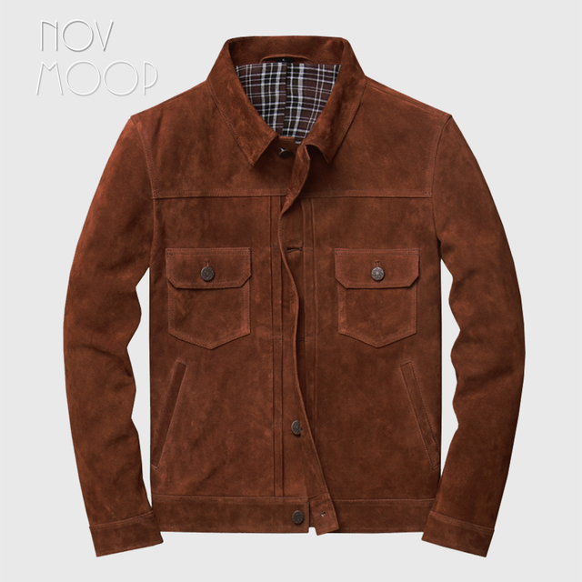 Novmoop veste en peau de vache, manteau dhiver pour homme, couleur marron, jaune brunâtre, style de jeunesse coréen, LT2883
