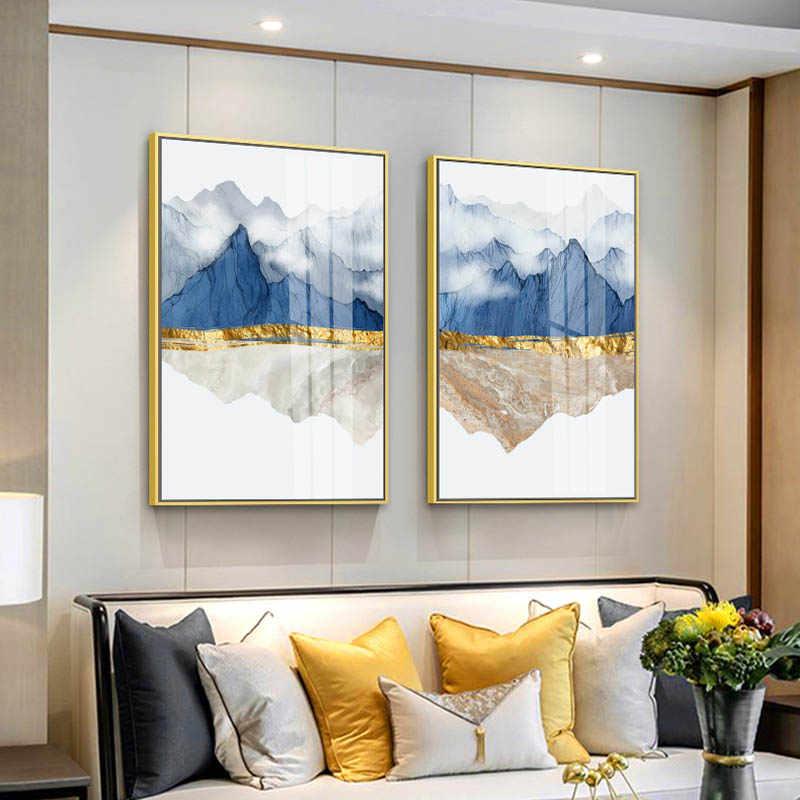 الحديث الجبل انعكاس الرخام مجردة الجدار ملصق المشهد قماش طباعة اللوحة المعاصرة الفن ديكور المنزل صورة