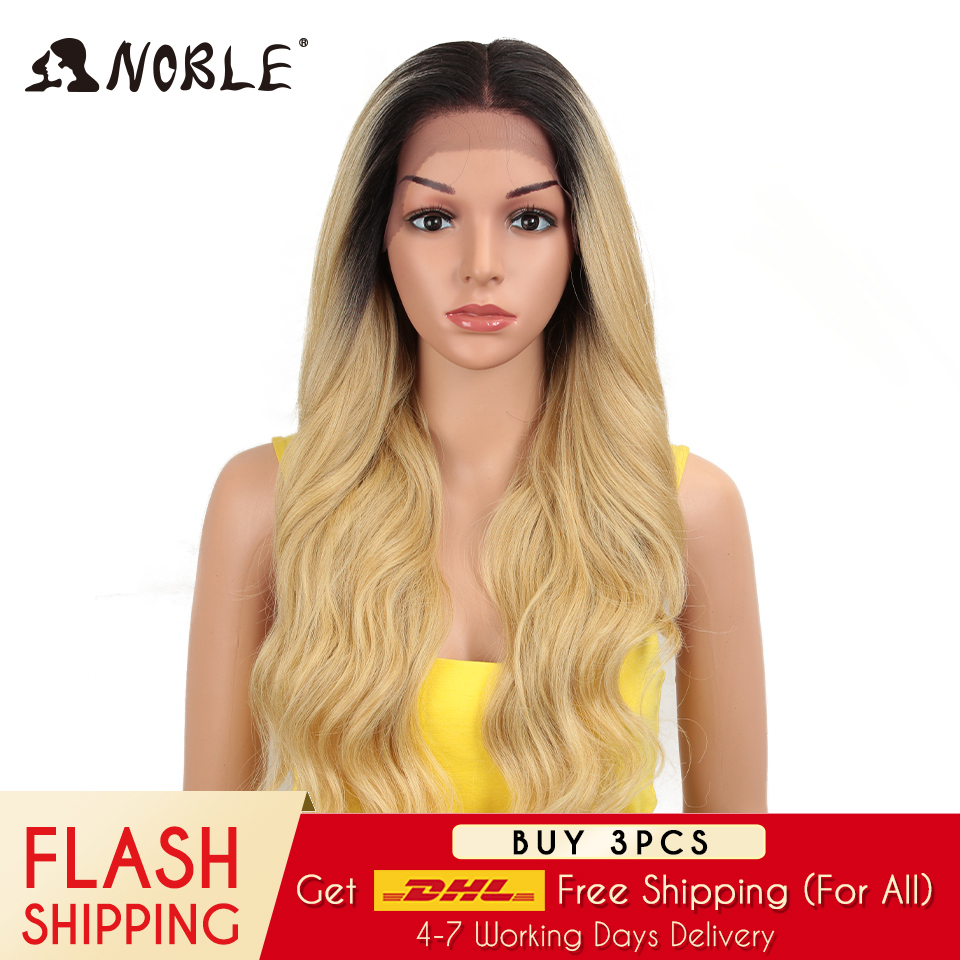 Noble Hair Lace Front Ombre Blonde Wig 28 Inch Long Wavy Red African American Synthetic Wigs For Black Women 2 COLOUR Free Ship