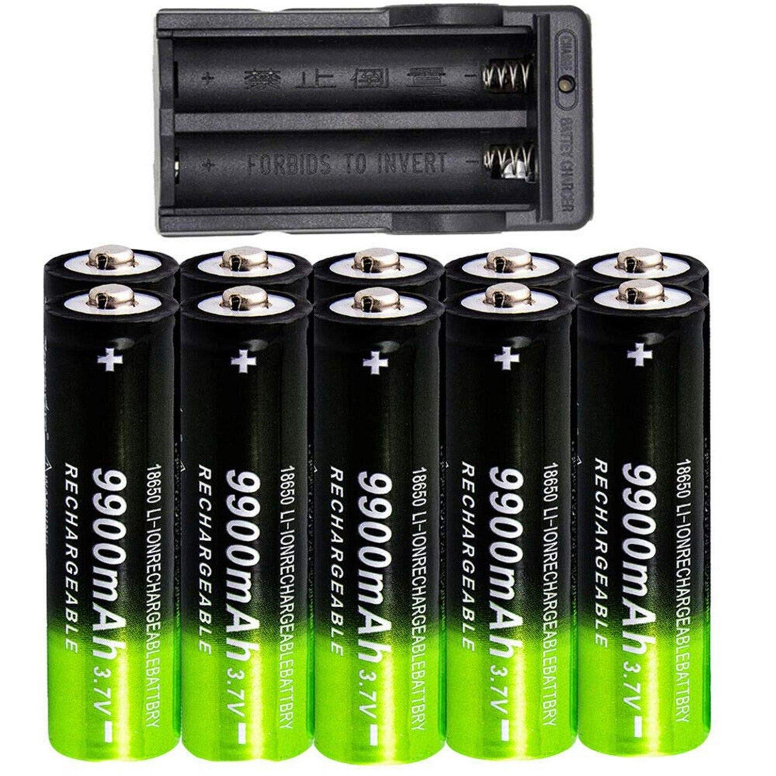 18650 3.7v 9900mah akumulator litowo-jonowy 10 szt. Akumulator + przewodowy Usb ładowarka do latarki czołowej Led #3