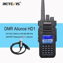 Retevis Ailunce HD1 Digital Walkie Talkie Dual Band DMR Radio DCDM TDMA UHF VHF Radio Station Transceiver With Program Cable