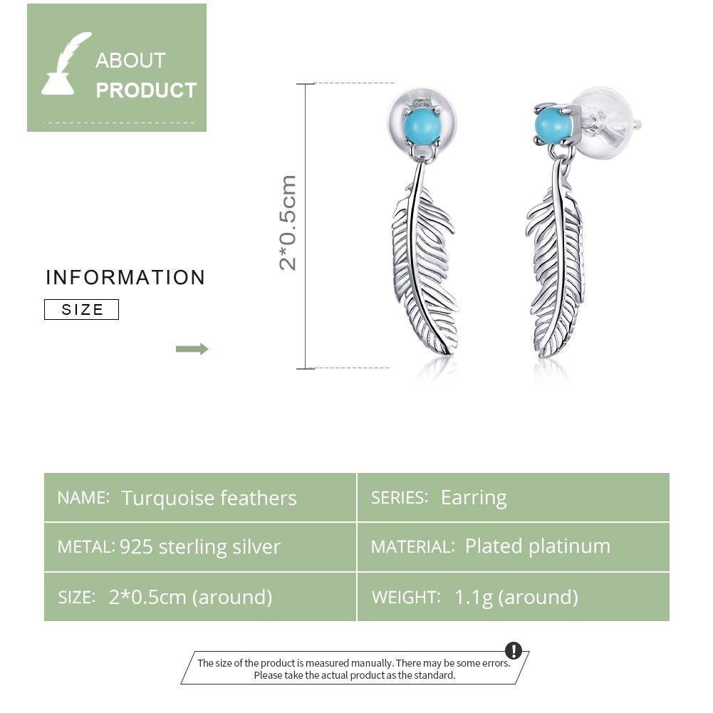 WOSTU Drop Earrings 925 Sterling Silver Retro Feathers Wings Women Dangle Earrings for Women Turquoise Zircon Jewelry CTE375
