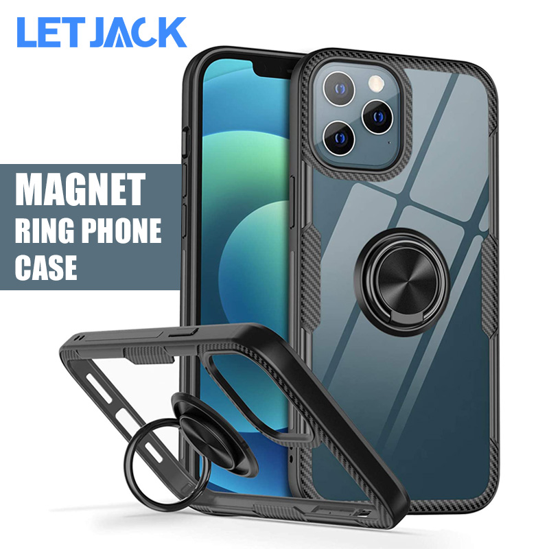 Magnetic Transparent Phone Case for iPhone 12 11 X XS Pro Max and iPhone SE 2020 XR X 8 7 6S 6 Plus Shockproof Cover Holder Ring