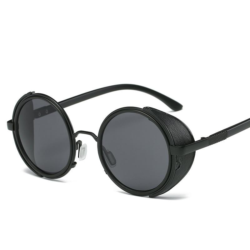 Steampunk lunettes De soleil femmes lunettes rondes lunettes hommes côté visière cercle lentille unisexe Vintage rétro Style Punk Oculos De Sol