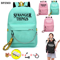 Canvas Cute Waterproof Stranger Things Women Backpack for School Teenagers Girls Backpack Laptop Travel Bags UBS DJ Backpack New