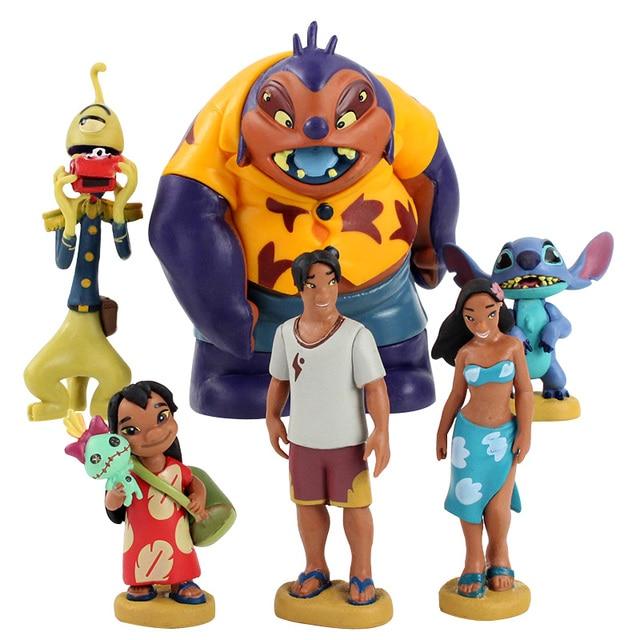 6pcs/lot Lilo and Stitch Figure Toy Scrump Lilo Nani Pelekai Pleakley Jumba Jookiba Model Dolls Children Gifts