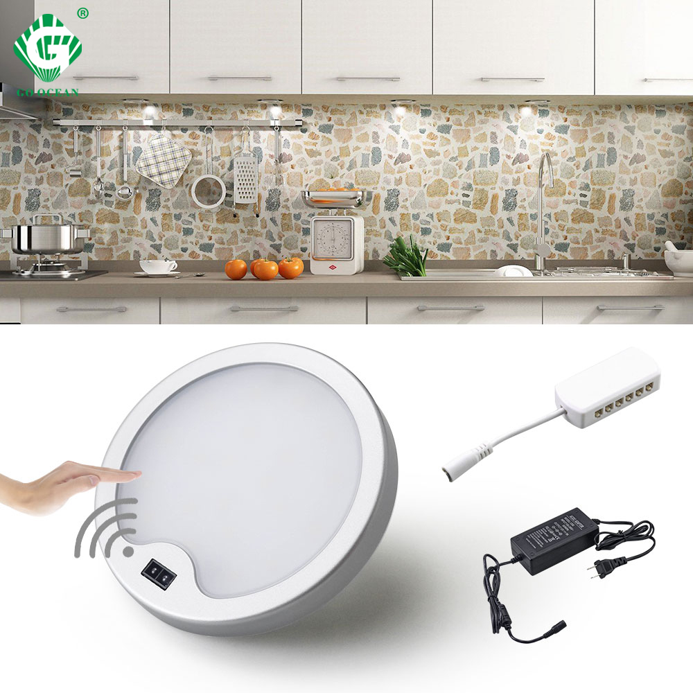 PIR 12V Under Cabinet Light Kitchen Motion Sensor LED Wardrobe Lighting Cabinet Lamp Cupboard Lights Closet Wardrobe Puck Round