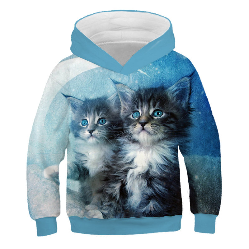 3D Print Cat Hoodies Kids Teens Long Sleeve Sweatshirts 3D Toddler Baby Boy Clothes Autumn Family Pullover Sweater Coat Tops 4
