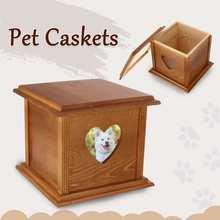 Можно положить изображение 18,6x18,6x16,5 см деревянная урна для домашних животных кошка собака птица шкатулки дом для пепла кремации похоронный Мемориал для домашних животных урна коробка гроба