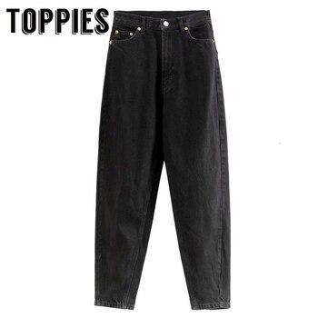 Black Jeans High Waist Denim Harem Pants Ankle Length Trousers Women Boyfriend Jeans For Women