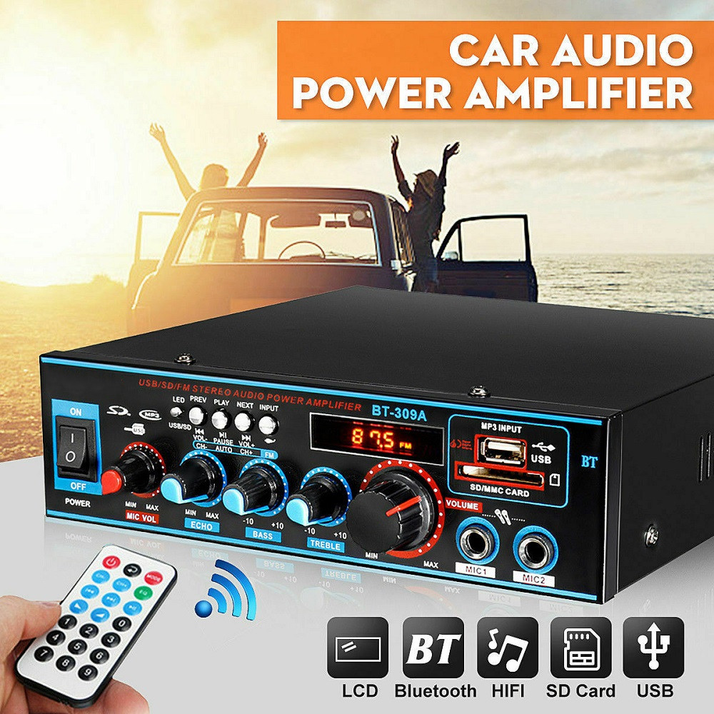 12V 220V 800W Bluetooth 5.0 Amplifier for speakers 2.0 Channel Car Audio Power AMP Bass HIFI Music Player AUX FM SD with Remote