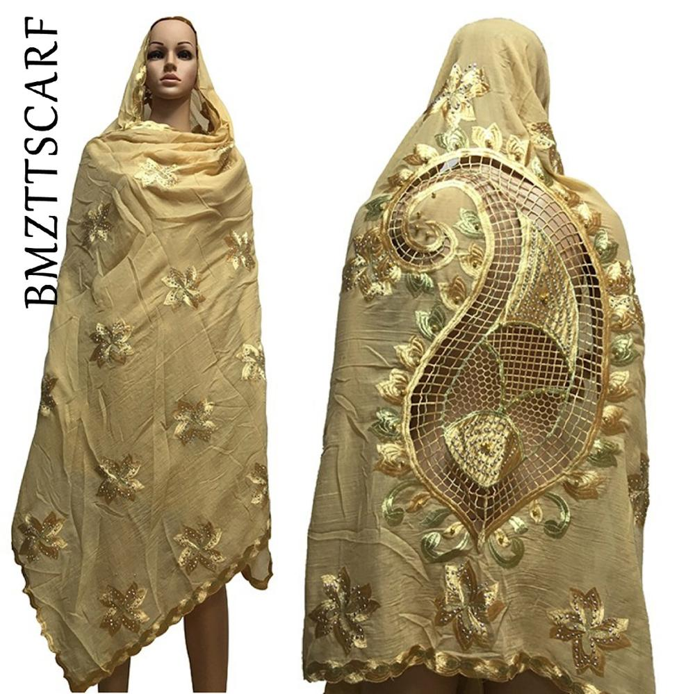 African Women Scarfs Muslim Embroidered Big Scarf Nice Design On The Back Soft Cotton Scarf  With BEADS  For Shawls BM650