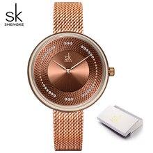 Novo shengke mulheres marca de luxo relógio simples quartzo senhora relógio de pulso à prova dwaterproof água moda feminina relógios casuais reloj mujer