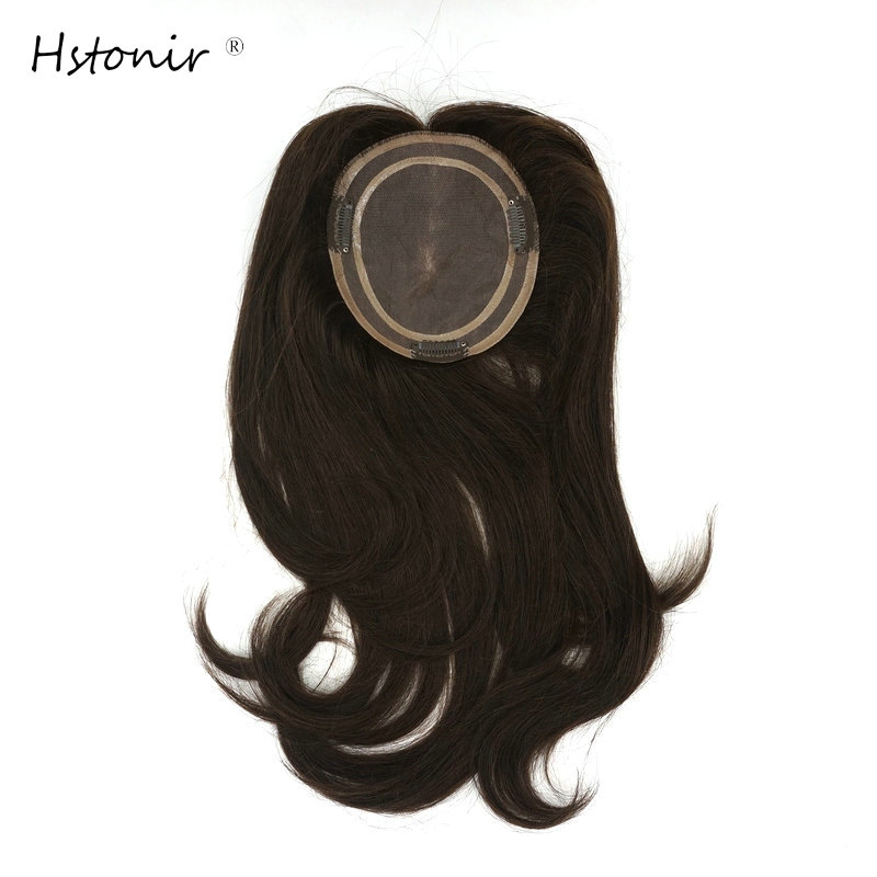Hstonir European Human Remy Hair Topper Wig For Women Platinum Blond Closure Top Hair Pieces TP04
