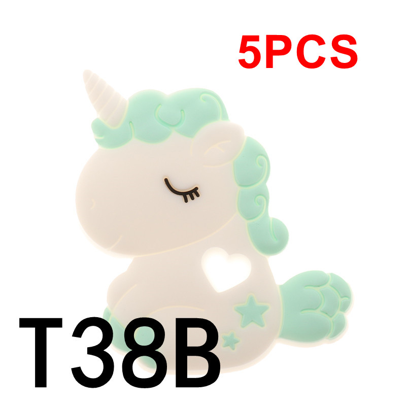 QHBC Unicorn 5pcs Silicone Rodent Baby Teether Horse BPA Free Infant Teething Pendant Nursing Materials Food Grade Animal DIY