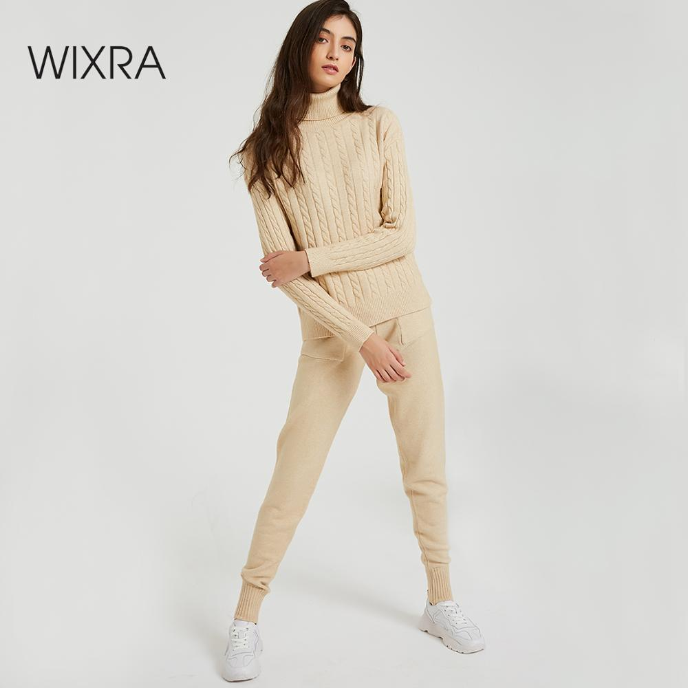 Wixra Knitted Women Sweater Sets Turtleneck Long Sleeve Sweaters Tops+Pockets Long Pants Solid 2 Pieces Suits Winter Costume