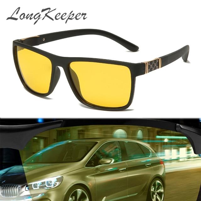 LongKeeper Night Vision Goggles Mens Driving Glass Polarized Sunglasses TR90 Square Anti Glare Yellow Lens Male Sport Gafas