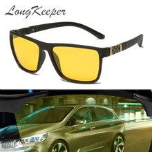 LongKeeper חדש גברים לילה נהיגה משקפי שמש מקוטבת ראיית לילה זכר משקפיים קלאסי מותג מעצב צהוב עדשת משקפי UV400