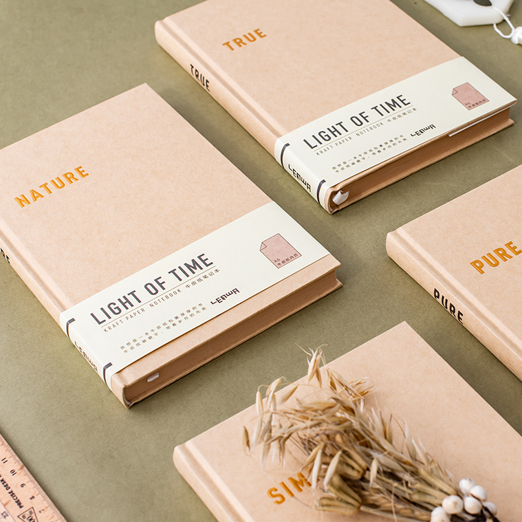 Time Light Big Kraft Hard Cover Journal Diary Blank Papers