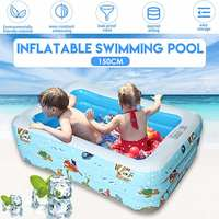 150CM Kids Inflatable Pool Family Rectangular Inflatable Swimming Pool Bathing Tub Kids Indoor Outdoor Summer Swimming Pool