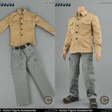 1/6 zytoys zy5040c мужской pmc хаки рубашка серые брюки Боевая