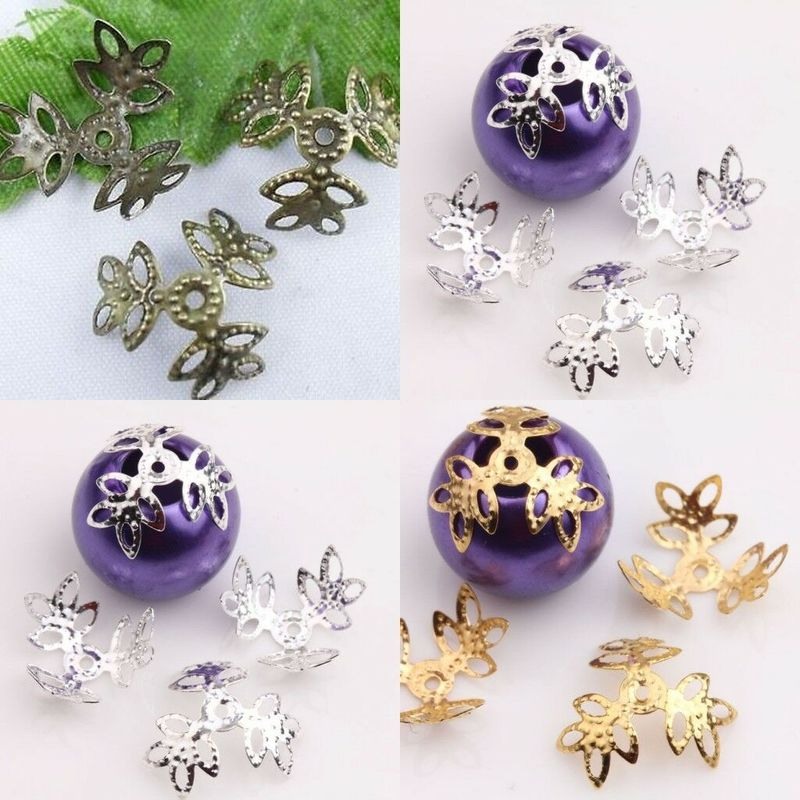 100Pcs Leaf Clover 18mm Filigree Bead Caps For Jewelry Making Flower Bead Caps Findings Diy Bracelet Earrings Accessories