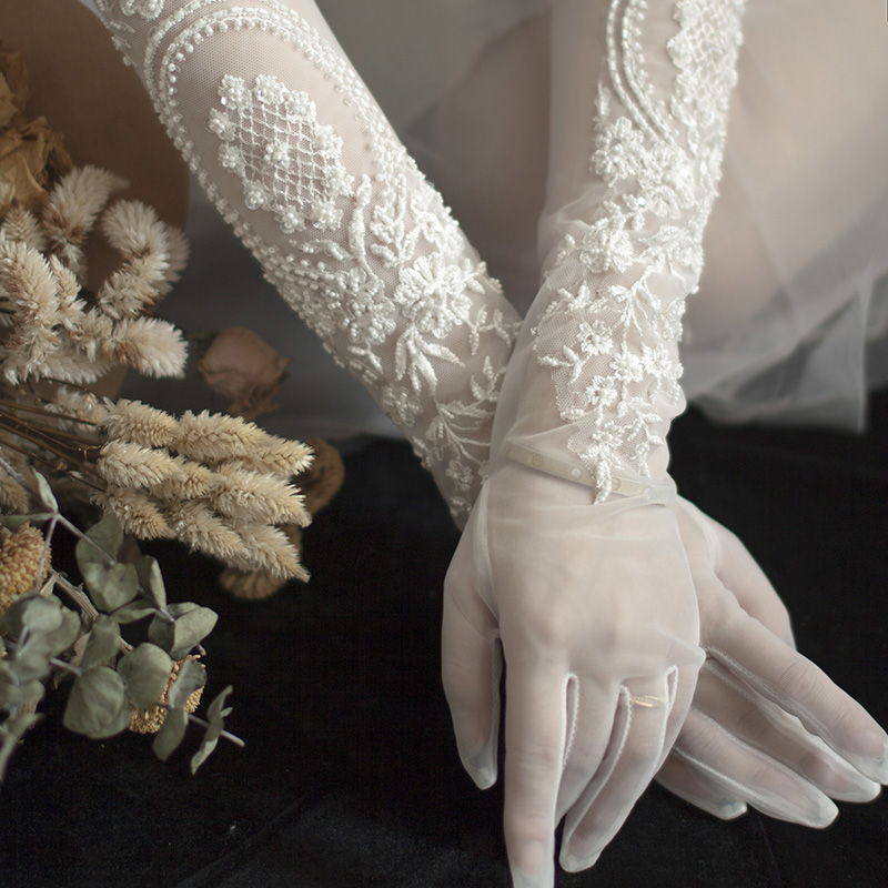 Wedding Bridal Gloves Opera Long Tulle Women Finger Pearls Beaded White Romantic Wedding Gloves Wedding Party Gifts