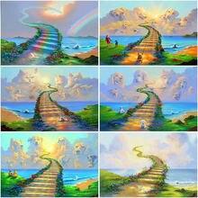 Diy bridge rainbow 5d diamond painting full square drill cartoon