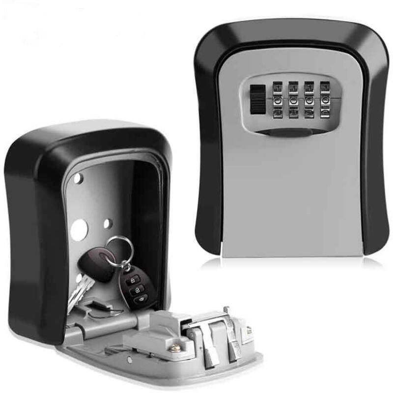 Password Keybox Key Safe Box MetalKey Lock Box Wall Mounted Aluminum Alloy Weatherproof 4 Digit Combination Key Storage Lock Box