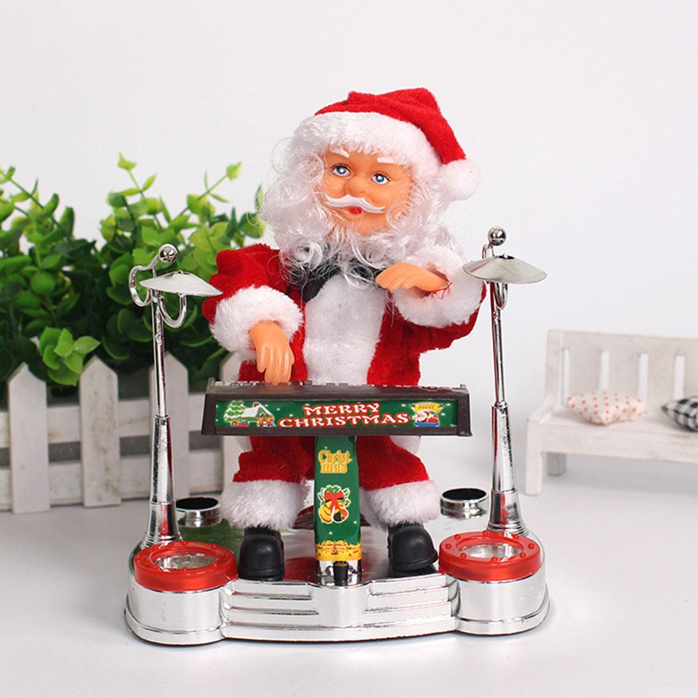 Electric Music Santa Claus Doll Santa Claus Playing Electronic Piano Ornament For Christmas Decoration