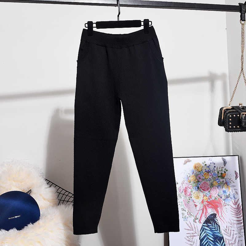 Вышивка блесток черный вязаный комплект женский спортивный костюм свободный длинный рукав кардиган свитер длинные брюки карандаш женский комплект из двух предметов