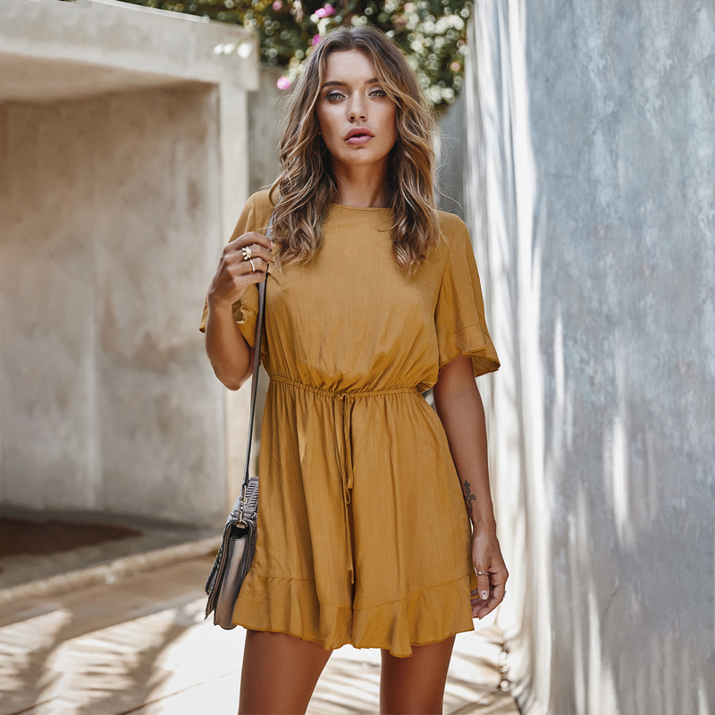 Jumpsuits Women Elegant Short Sleeve Solid High Waist Playsuits Feamle 2020 Summer Romper Casual Overalls