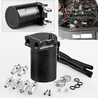 300ML car Oil Breather Catch Can Baffled Petrol Diesel Turbo Tank Reservoir Filter Kit Aluminum Alloy black tank