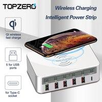 Topnero QI Беспроводное USB зарядное устройство 40 Вт QC3.0 Type C адаптер для быстрой зарядки 6 портов LCD интеллектуальное зарядное устройство USB