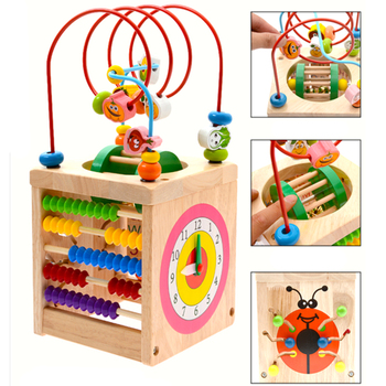 hot Montessori Math Toy Wooden Toys for Children Multi Function Abacus Clock Beads Toy Educational Teaching Aids for Kids Baby