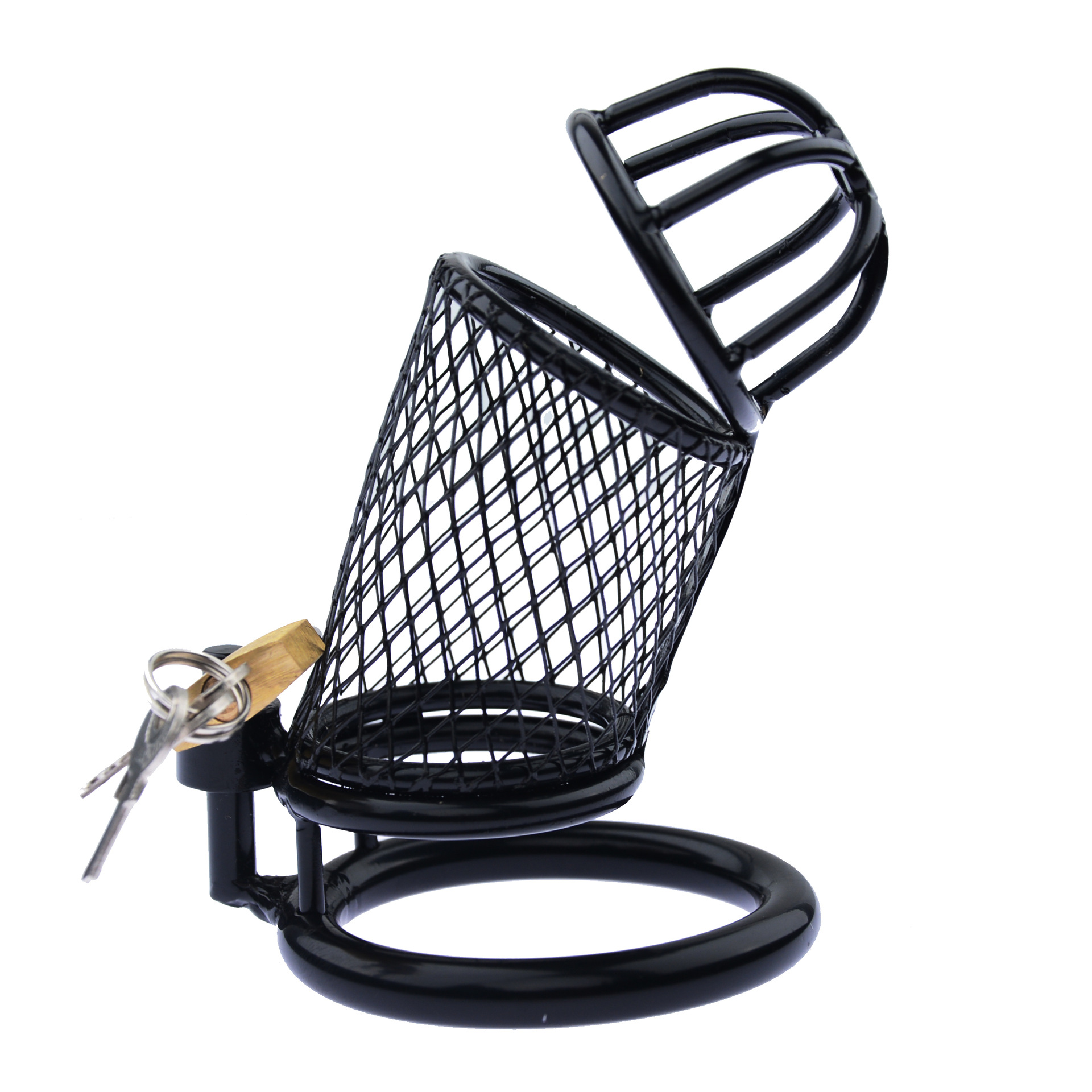 Black Iron Plating Penis <font><b>Rings</b></font> Metal Mesh Chastity Lock Male Cock Cage Device Men Adult Game Outdoor Hidden <font><b>Sex</b></font> <font><b>Toys</b></font> SM Products image
