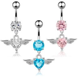 14G Heart Wing Crystal Navel Belly Crystal Zircon Dangling Ombligo Party Stud Barbell For Woman Body Jewelry