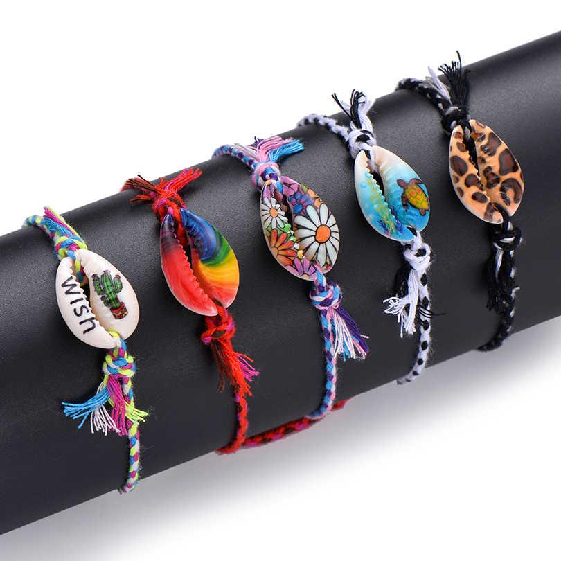 Pipitree deniz kabuğu Charm bilezik el yapımı Bohemian baskı halat örgülü bilezikler kadın erkek çocuklar için Boho plaj takı hediye