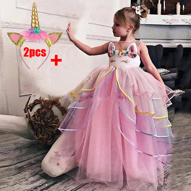 2020 Flower Girl Dress Party Birthday Party Long Gown Princess Unicorn Costume