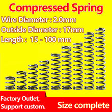 Mola de pressão comprimida, mola retorno da mola mola diâmetro 2.0mm, diâmetro exterior 17mm