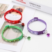 Bell Pet Cat Collar Accessories Nylon Strap Adjustable Dog Puppy Necklace Harness