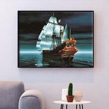 HUACAN point de croix mer couture ensembles pour Kits de broderie complète voilier toile blanche 14CT décoration bricolage 40x50cm