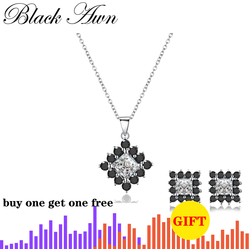 [BLACK AWN] Genuine 925 Sterling Silver Necklace For Women Square Black Spinel Necklaces Pendants Sterling Silver Jewelry P004