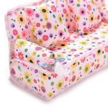 Мини-диван, игрушка с цветочным принтом, детская игрушка, плюшевая мягкая игрушка, мебель, диван + 2 подушки для кукольного дома, аксессуары, К...