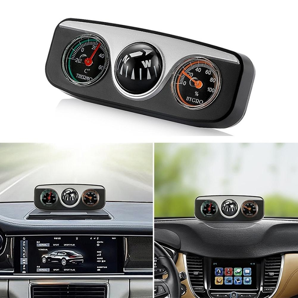 2019 New Stylish Car Vehicle Navigation Ball Compass Thermometer Hygrometer Interior Accessories