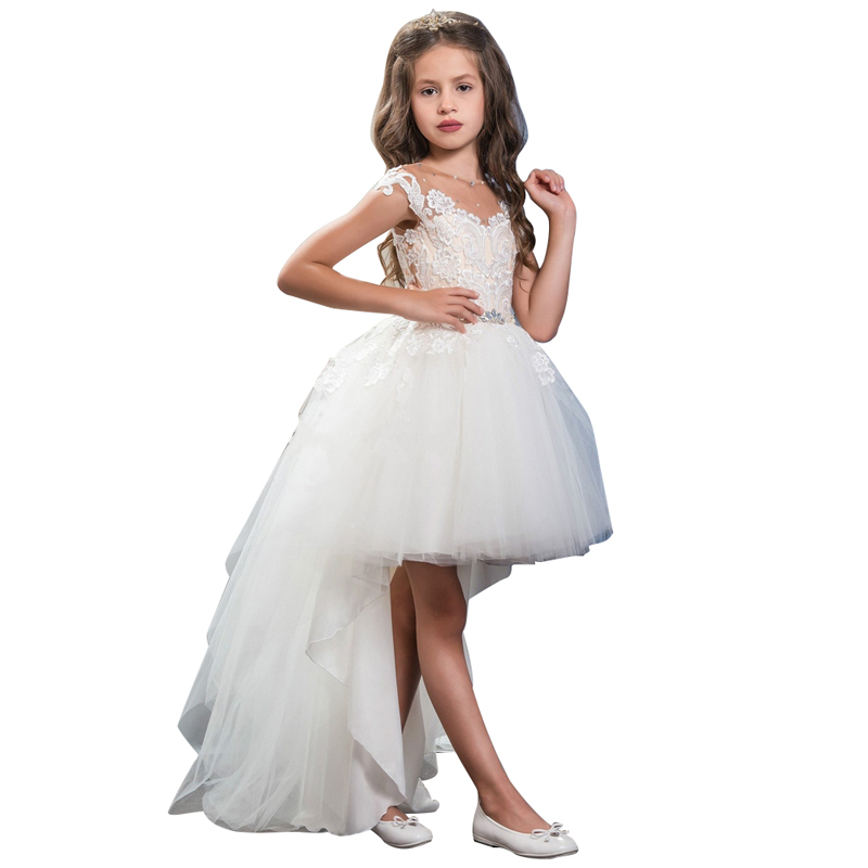 High Low Ivory White Flower Girl Dress for Wedding Lace Beads Sheer Neck Girls Pageant Party Dress Prom Gown Custom