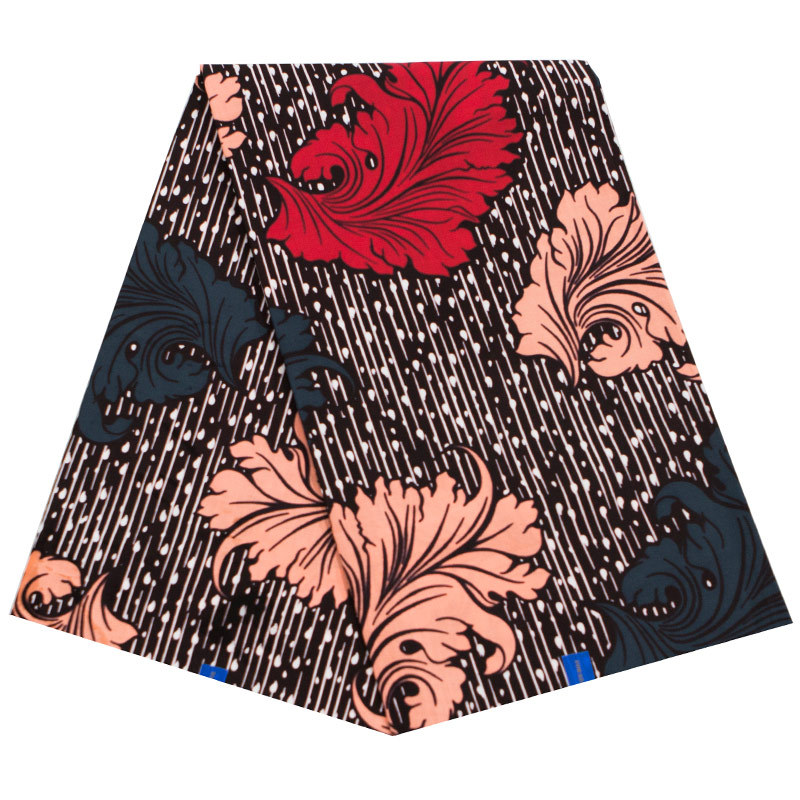2020 New Arrivals African Fabric Red Pink & Black Floral Print Fabric Pagnes Dutch Wax 6Yard
